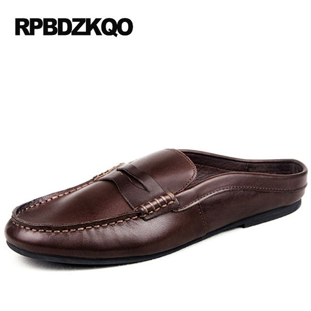 8ebd8d8b8d4 Black Real Leather 2017 Mules Summer Brown European Loafers Men Genuine Shoes  Moccasins Half Male Casual