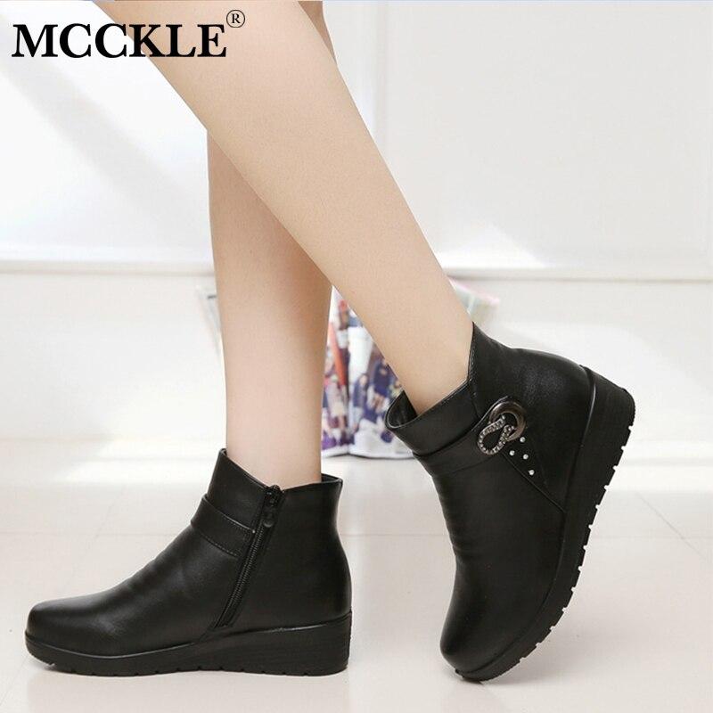 0eaf0cd51 Cortas Mcckle Cuñas Señoras Caliente Zapatos Moda Mujer Botas Invierno  Tobillo Black Brown Piel Rhinestone dark Plataforma ...