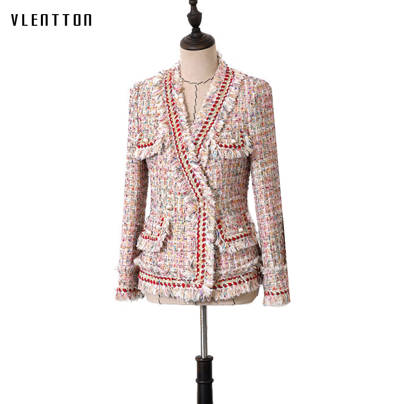 High Quality 2019 Autumn Vintage Plaid Tweed   Jacket   Women Long sleeve Pearl Slim   Basic     Jackets   Coats Female Chaqueta Mujer