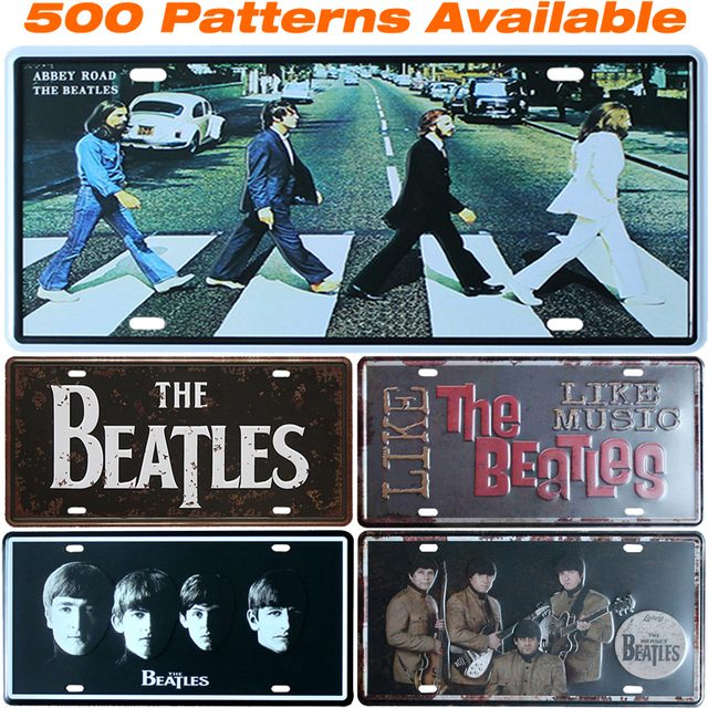 The Beatles Car License Plate Vintage Home Decor Tin Sign Shabby Chic Metal