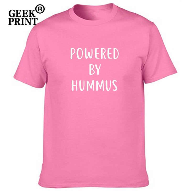 Mulheres Encabeça ALIMENTADO POR hummus propagação HUMMUS Imprimir Tshirts Senhora meme vegetariano não odeio funny T Shirt Top Tees Menina dropshipping