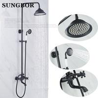 Bronze Black Bathroom Shower Bath Faucet Dual Handles In Wall Washing Room Shower Mixer Taps 8 Rain shower set Head chuveiro