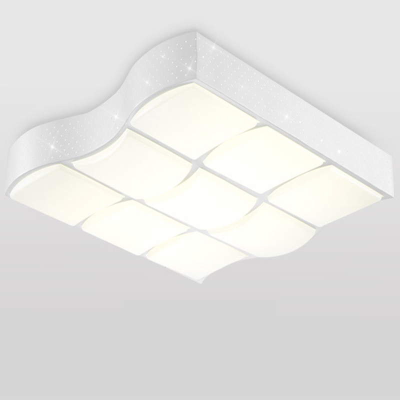Modern wave shape designer white iron led ceiling lights fixture home decoration living room remote control acrylic ceiling lamp бра paralumi 1147 1w favourite 1116527