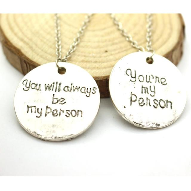 Us 1 49 2pcs Grey Anatomy Necklace Hot Sales Letter You Are My Person You Will Always Be My Person Pendant Necklace Wholesale In Pendant Necklaces