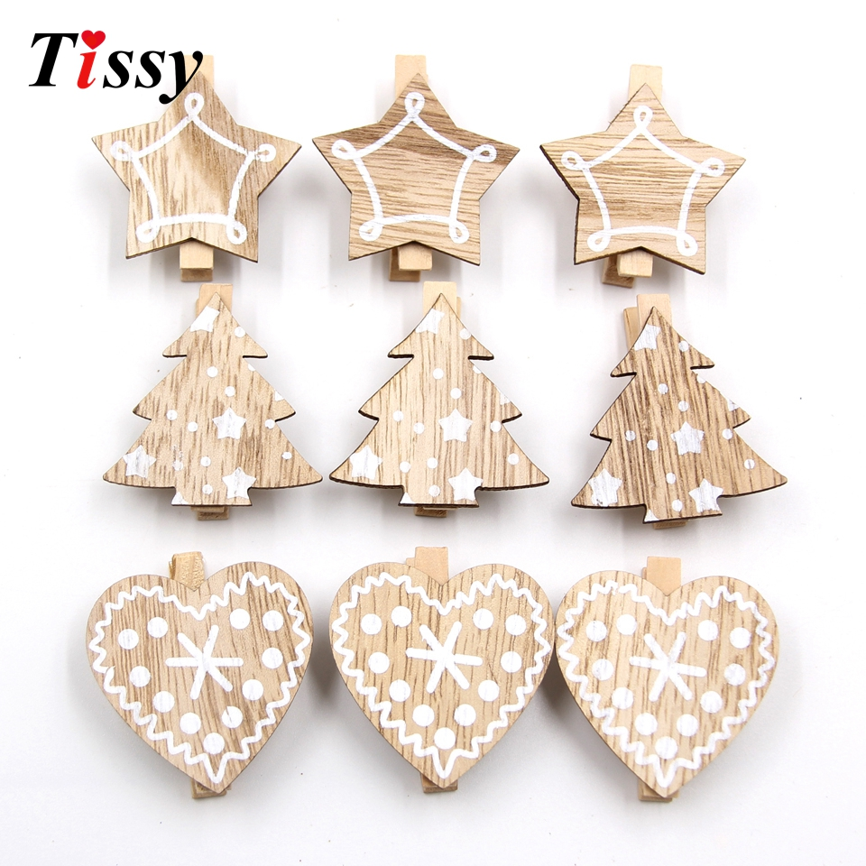 20PCS Heart&Star&Tree White Wooden Clips Photo Clips Clothespin Clips DIY Craft Home Christmas/Wedding Party Decoration Supplies