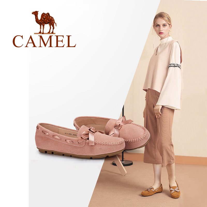 CAMEL New Fashion Casual Flats Single Shoes Women Slip On Ladies Shoes Bowknot Lace Flock Round Low Heel Pregnant Shoes Female spring summer flock women flats shoes female round toe casual shoes lady slip on loafers shoes plus size 40 41 42 43 gh8