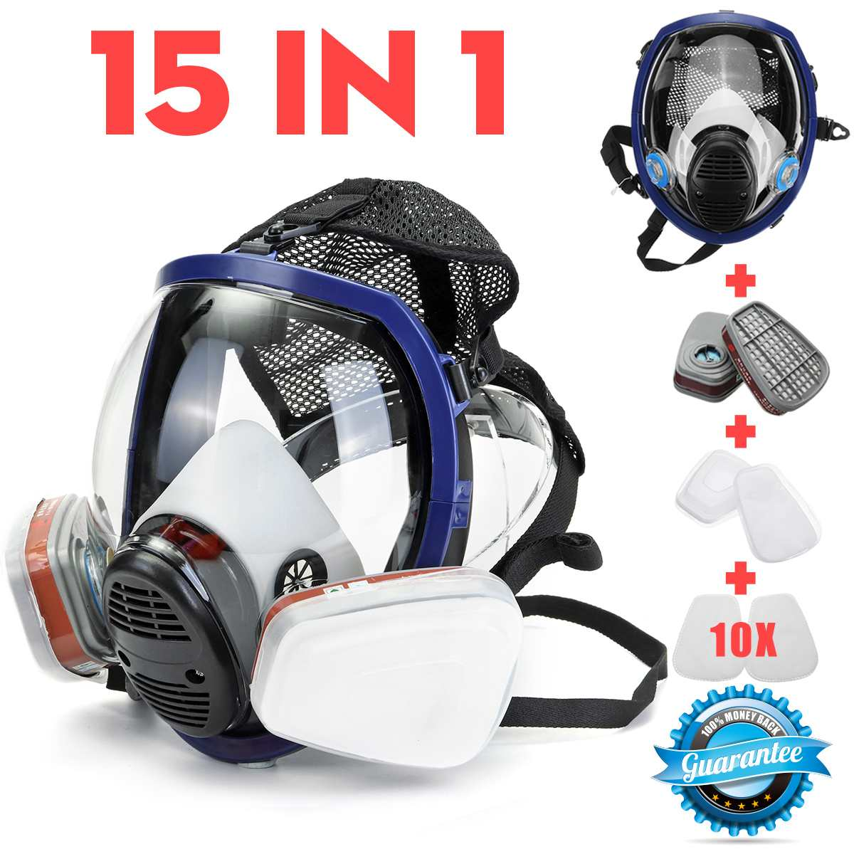 15 In 1 Full Face Gas Mask For-3M 6800 Face Piece Respirator Painting Spraying Mask Chemical Laboratory Medical Safety Mask