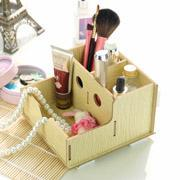 Multi-function 3grids DIY hollow wooden case / Cosmetic Case  Storage box 14.5*15*9cm