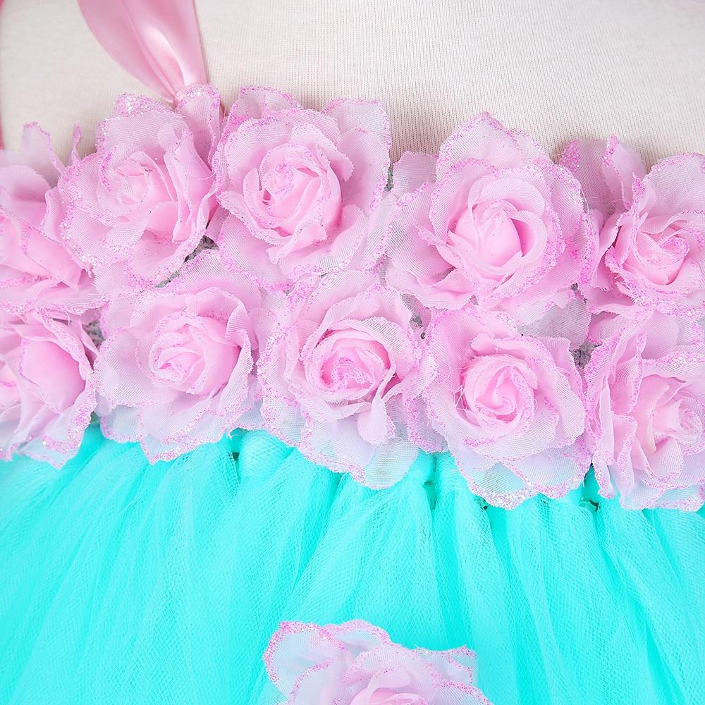 Tutú del partido del bebé vestido verde menta con rosa flor ...