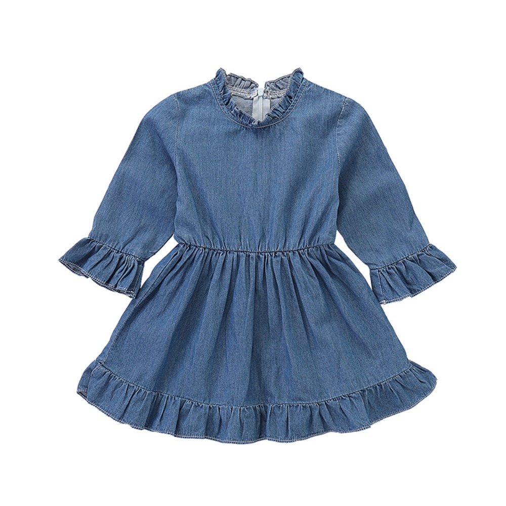 Puseky Newborn Infant Baby Girls Jeans Dress Long Sleeve Ruffled Frilled Sundress Denim Cotton Princess Casual Clothes Outfits