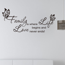 Family Where Life Begins Love Never Ends Butterfly Flower Wall Art  Home Decoration High Quality Vinyl Sticker Decal