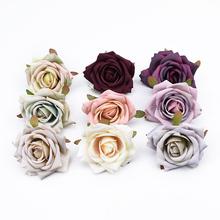 8CM sztuczne rośliny scrapbooking róże głowy ślub kwiat ściany dekoracyjne wieńce wazony do dekoracji wnętrz sztuczne kwiaty tanie tanio Róża Kwiat Głowy Jedwabiu Ślub