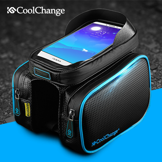CoolChange Bicycle Frame Front Head Top Tube Waterproof Bike Bag&Double IPouch Cycling For 6.0 in Cell Phone Bike Accessories