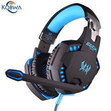 Kobwa Professional 3.5mm LED Light PC Gaming Headphone Bass Stereo Noise Wired Headset With Mic For Laptop Computer Skype