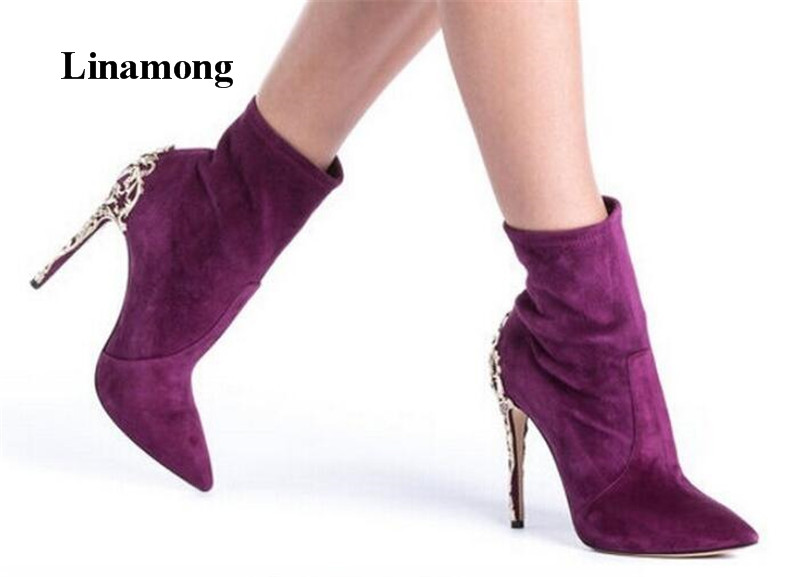 Hot Shoes Pointed Toe Slip-On Thin High Heel Women Boots Fashion Metal Decoration Spring Autumn Ankle Boots High quality цена