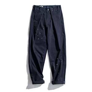 Image 2 - MADEN Mens Relaxed Fit Adjustable Waist Twill Work Cargo Pants with Paint Splash