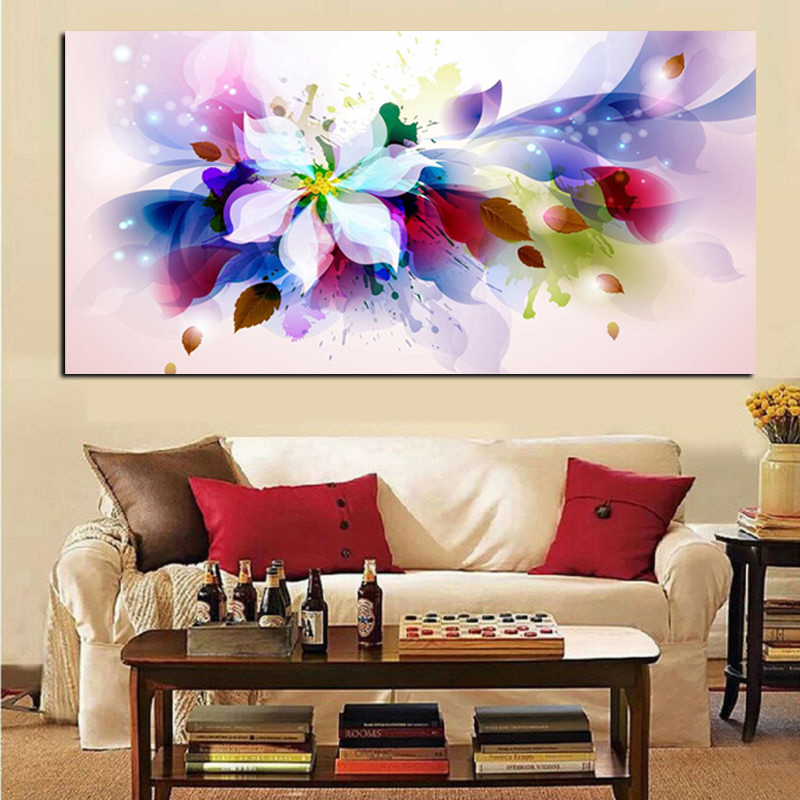 YWDECOR Large Size 3D Watercolor Flower Abstract Canvas Pop Art HD Print Painting Poster Picture Wall Picture For Living Room