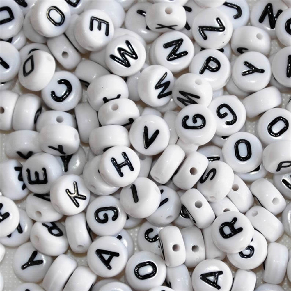 suti 10PCS White Round English letters Alphabet Acrylic Beads For Jewelry Making DIY Bracelets Supplies 7mm