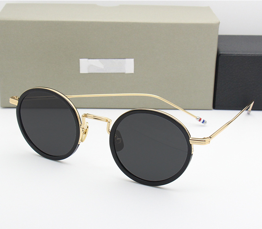 Round Sunglasses Women And Men New York Brand  Thom Retro Sun Glass  TBS906 Vintage Sunglass 2018 Fashion Black Frame