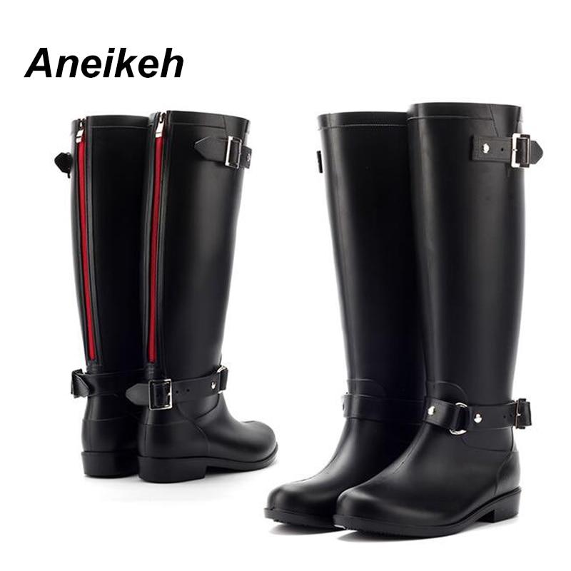 Aneikeh PVC Women Rain Boots Girls Ladies Rubber Shoes For Casual Walking Outdoor Mid calf Waterproof Female Low Heel Shoe