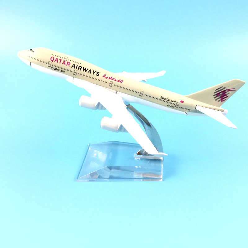 16cm Alloy Metal Air QATAR Airways Boeing 747 B747 400 Airlines Plane Model Aircraft Airplane Model W Stand Craft Gift