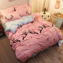 Осень постельных принадлежностей лошадь пододеяльник серый кровать набор мультфильм семейства кошачьих плоской подошве Лось постельное белье 4 шт. постельное белье Nordic домашний текстиль