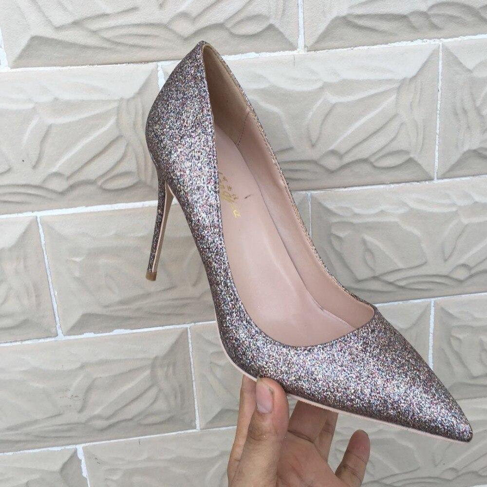 Keshangjia OL Büro Dame Schuhe Frauen High Heels Schuhe Gold Pailletten Tuch Pumpen Frau Kleid Schuhe Silber Hochzeit Schuhe Frühling-in Damenpumps aus Schuhe bei  Gruppe 2