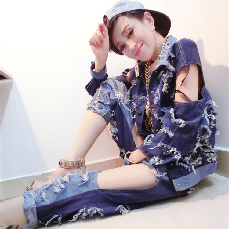 Wholesale New Fashion Ds costume dj female singer jazz dance costumes Pant and Coat Two piece Sets hiphop cool denim set