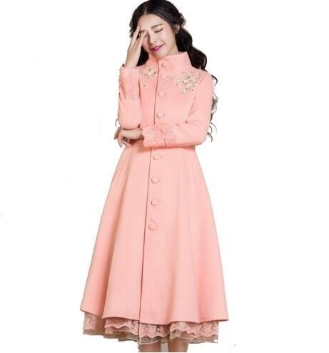 Colore Basamento Autunno Inverno Outwear Lungo 2019 Rosa Di Lana Size Femminile Ricamo Donna Sottile Plus Cappotto Collare S 3xl Elegante Del zBRw1wqnxd