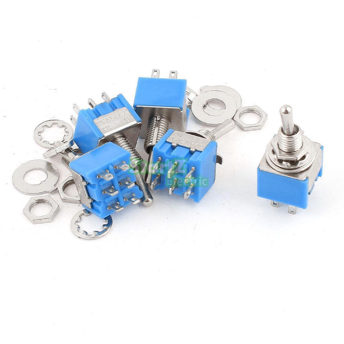 5 шт., миниатюрный выключатель DPDT ON-OFF-ON, 3 позиции, 6 контактов, с защелкой, 125 В переменного тока, 6A