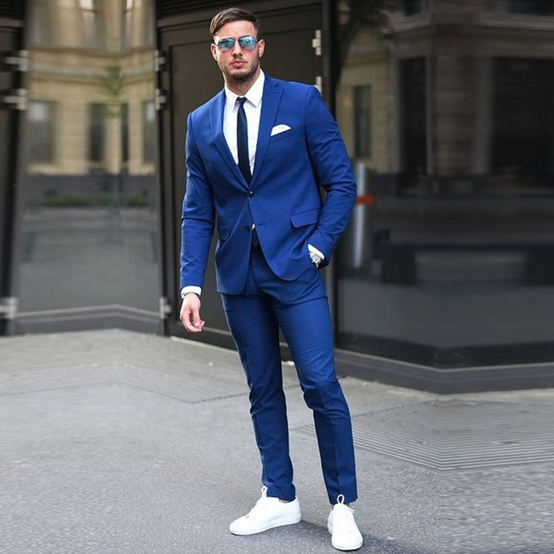 Custom made Two Buttons Royal Blue Men Suits 2017 Fashion