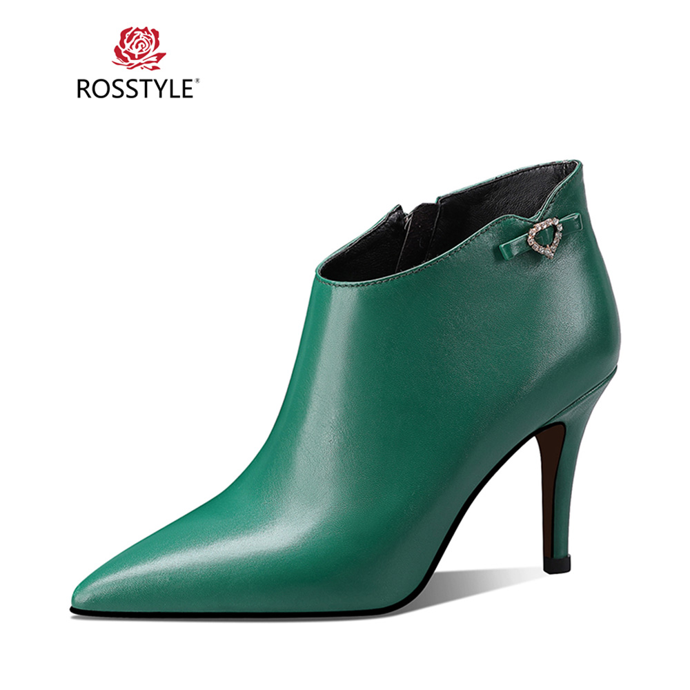 Black Mûre Office 2018 Solide Mince Rosstyle Pointu Bottine Talon Élégant green En Lady Femme B44 Véritable Cuir Hiver Boot Bout Sexy 1tngnBH