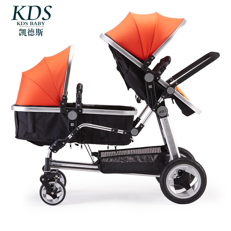 2018 new twins high landscape second child baby stroller double reclining can sit and fold baby stroller can sit and fold folded light high landscape winter newborn baby child stroller