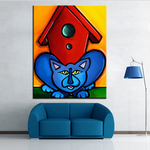 Large size Printing Oil Painting bird watching Wall painting POP Art Wall Art Picture For Living Room painting No Frame