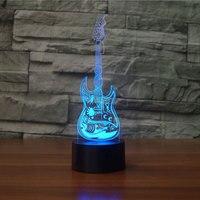 Creative Music Guitar 3D NightLight LED Colorful Cool Musical Model Visual Table Lamp Home Decor Luminaria
