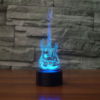 Creative Music Guitar 3D NightLight LED Colorful Cool Musical Model Visual Table Lamp Home Decor Luminaria