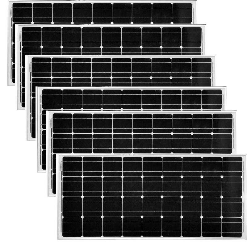 Solar Plate 12v 100w Monocrystalline 6 Pcs A Grade Placas Solares 72v 600W Solar Home System Marine Yacht Boat Caravan Car Camp