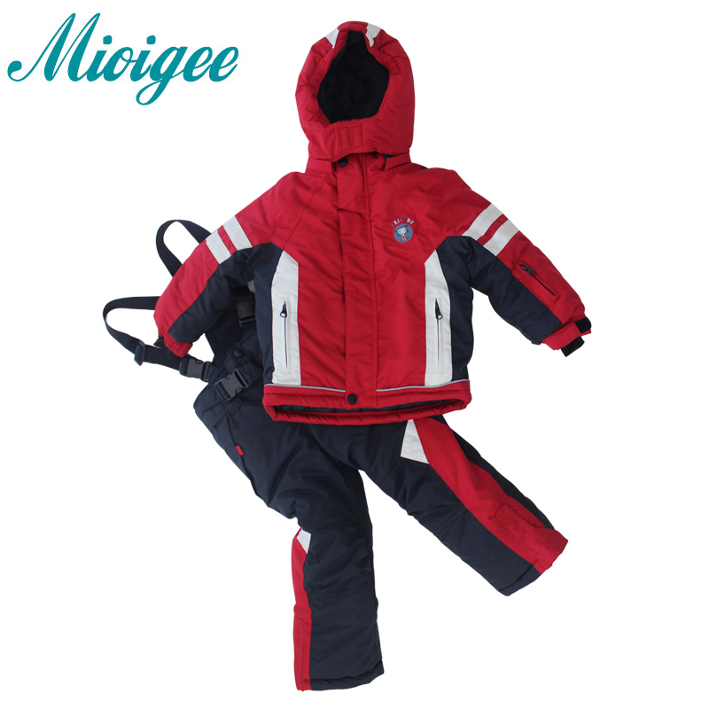 Mioigee 2017 kids clothes Fashion In cold winter New girls sport suit Autumn Winter Boy Outerwear & Coats + bib pants 2pcs sets 2016 new fashion autumn winter boy two pieces suit thicken children tops pants suit leisure hooded kids clothes hl0856