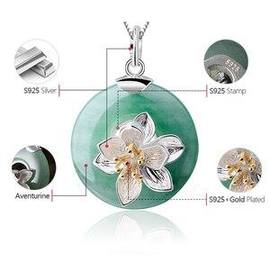 Image 5 - Lotus Spaß Echt 925 Sterling Silber Natürliche Aventurin Grün Edelstein Feine Schmuck Lotus Whispers Anhänger für Frauen ohne Kette