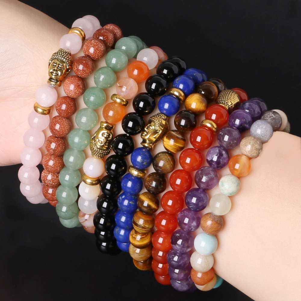 Pulseras Mujer 8mm Stone Beads Bracelets Gold Buddha Elastic Charms Bracelet Rope Chain Bangles For Men Women Jewelry Diy In Charm From