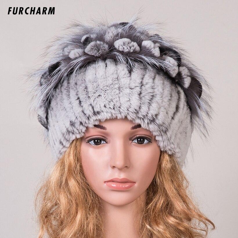 Women Fur Hat for Winter Genuine Rex Rabbit Fur Skullies with Silver Fox Fur Pom Poms Top Beanies Elastic Russian Fur Cap skullies