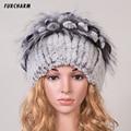 Women Fur Hat for Winter Genuine Rex Rabbit Fur Skullies with Silver Fox Fur Pom Poms Top Beanies Elastic Russian Fur Cap