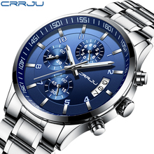 Relogio Masculino Men Watches Famous Top Brand CRRJU Fashion Casual Mens Sport Watch Military Quartz Wristwatches Male Clock