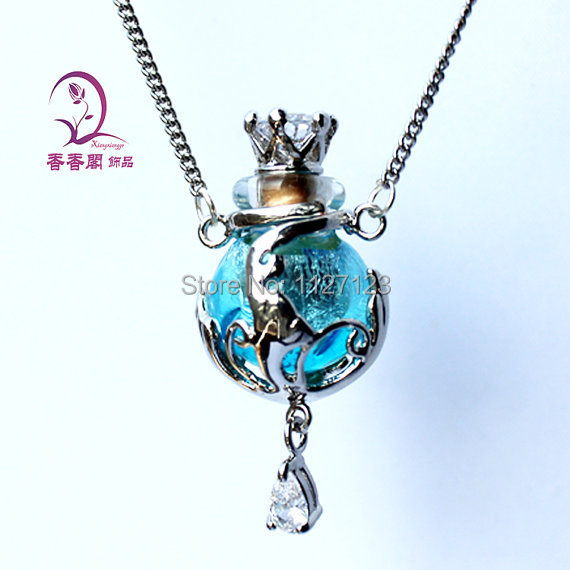 Free shipping 1pcs Murano Glass Essential Oil Bottle Pendant Necklace Perfume Bottle Necklace Aroma diffuser necklace