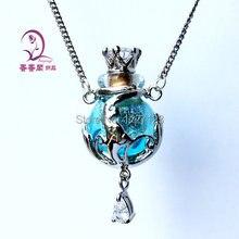 Envío gratis! 1 unids cristal de Murano botella de aceite esencial botella de Perfume colgante collar collar, difusor de Aroma collar