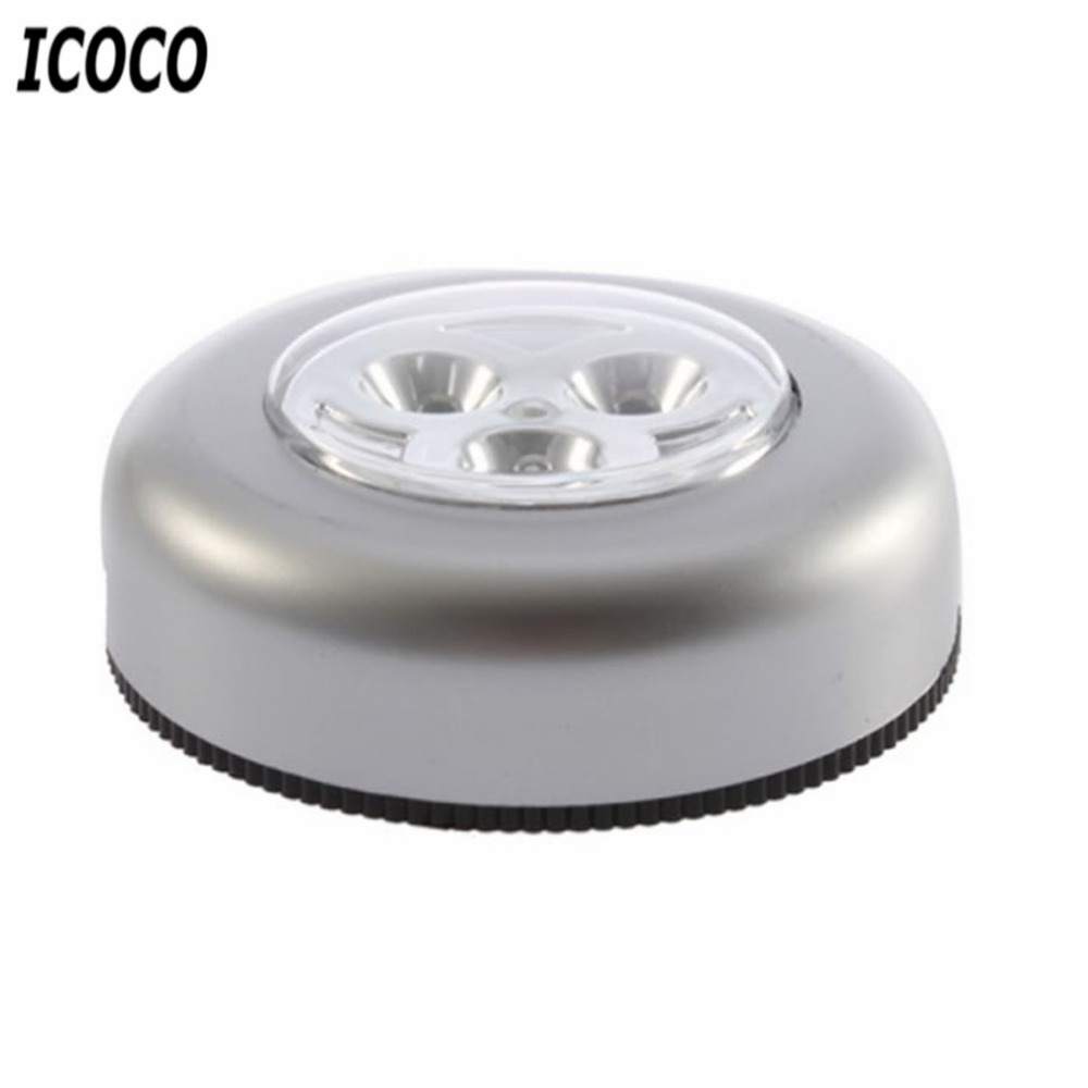 3 Colors Round Cordless Kids Touch Lamp Led Battery Powered Stick Icoco Tap Light