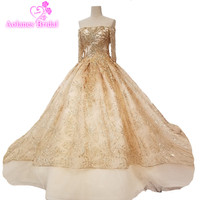 2018 Gold Lace Champagne Wedding Dresses Boat Neck Cathedral Train Wedding Gown Ball Gown Off The Shoulder Vestido De Noiva