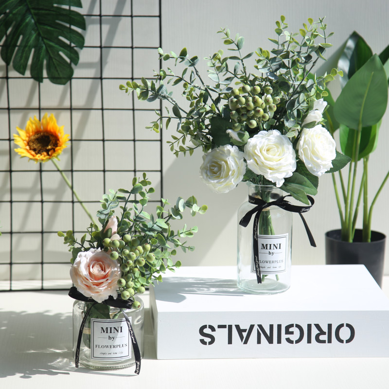 Farmhouse Home Decor Nordic Style Small Fresh Simulated Flowers Rose Bouquet Living Room Furnishings Flower Arrangement Artificial Dried Flowers Aliexpress