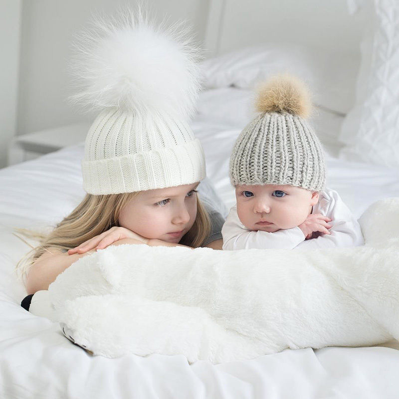 2 Stücke Mutter Kind Baby Kind Hüte Warme Winter Stricken Mütze ...