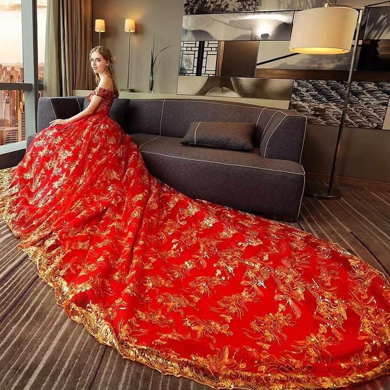 Роскошные пикантные красные свадебное платье 2018 бальное платье свадебное платье золотые кружева пайетки короткий рукав с открытыми плечами свадебное платье с длинным шлейфом